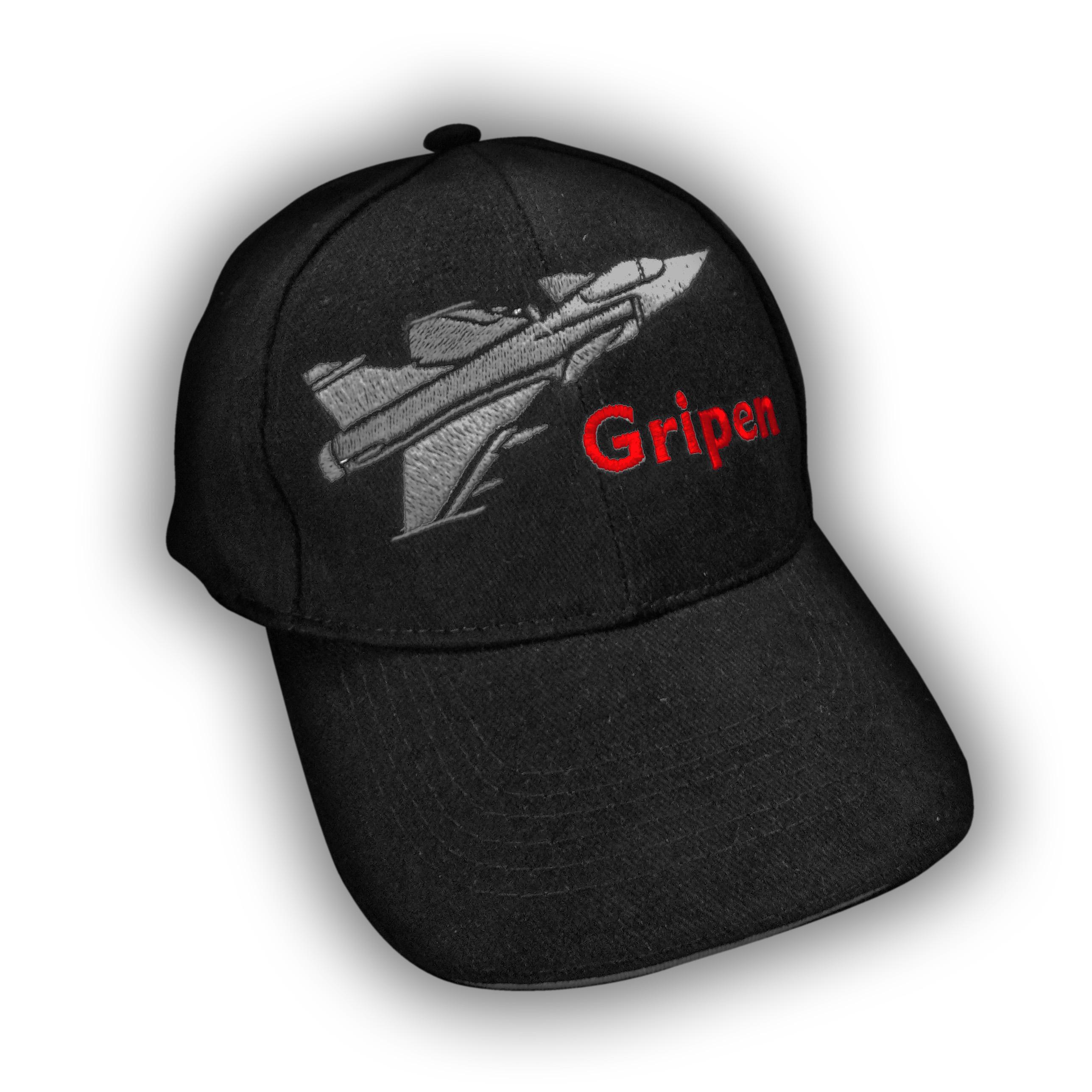 Hímzett Gripen baseball sapka - szürke piros hímzés JETfly Military ... 4205bcc0b6